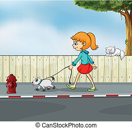 A girl strolling with her pet - Illustration of a girl...
