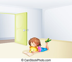 A girl studying in a room