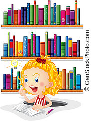 A girl studying in front of the bookshelves - Illustration ...
