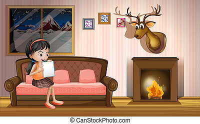 A girl studying inside the house near the fireplace -...