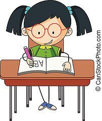 A girl studying on desk