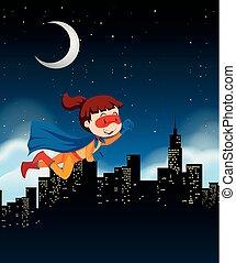A girl super hero flying on sky