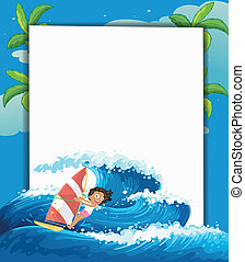 A girl surfing in front of a big empty signage