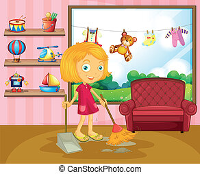 A girl sweeping inside the house