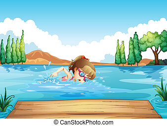 A girl swimming at the sea