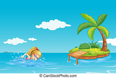 A girl swimming near an island with a coconut tree