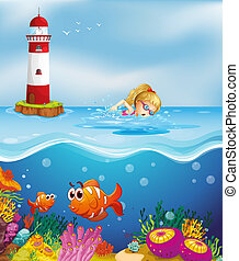 A girl swimming near the lighthouse