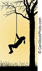 A Girl Swings On A Tree