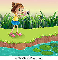 A girl taking photos at the pond - Illustration of a girl...