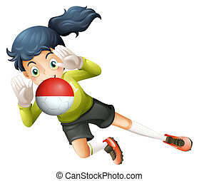 A girl using the ball with the Chile Flag