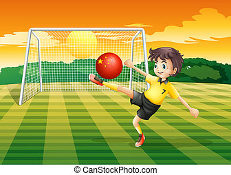 A girl using the ball with the flag of China