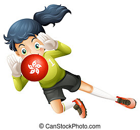 A girl using the ball with the Hongkong flag