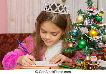 A girl waiting for a new year, writes a letter to the desires