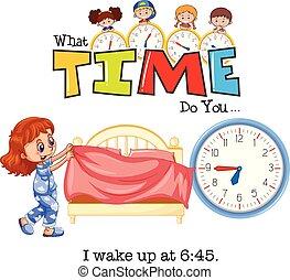 A girl wake up at 6:45