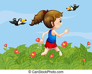 A girl walking at the garden with birds - Illustration of a ...