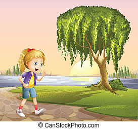 A girl walking hurriedly
