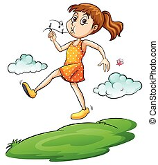 A girl walking in the air