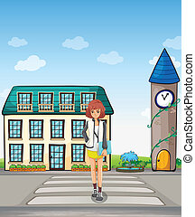 A girl walking in the street