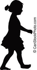 a girl walking silhouette vector