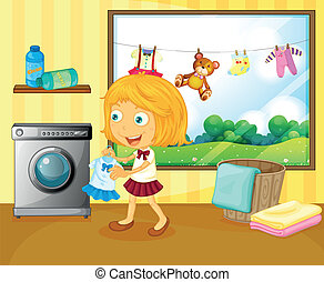 A girl washing her clothes - Illustration of a girl washing...