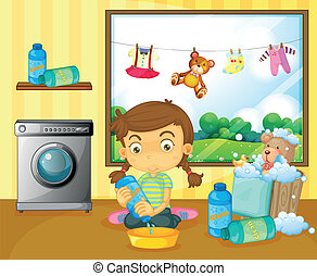 A girl washing her stuffed toys - Illustration of a girl...