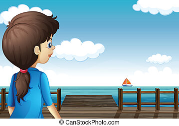A girl watching the boat