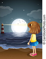 A girl watching the lighthouse in the beach