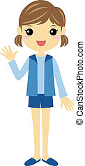 A girl waving - A standing girl wearing blue shorts and vest...
