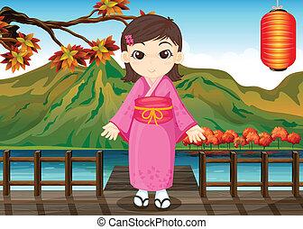 A girl wearing a chinese dress