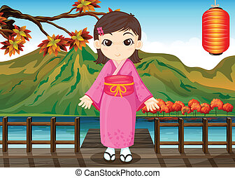 A girl wearing a chinese dress