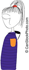 A girl wearing a purple striped hoodie and a ponytail looks cute vector or color illustration