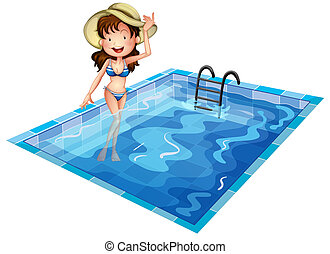 A girl wearing a swimsuit at the pool