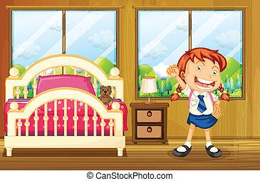 A girl wearing her school uniform