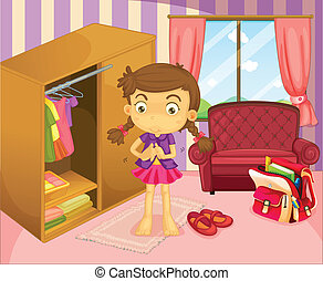 A girl wearing her uniform - Illustration of a girl wearing...