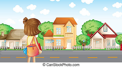 A girl with a bag across the neighborhood