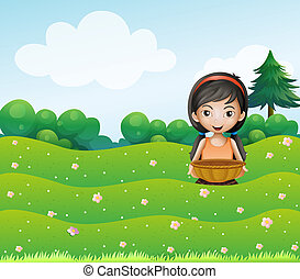 A girl with a basket at the hill
