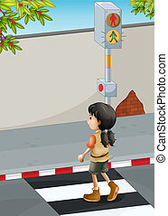 Illustration of a girl with a brown shoes crossing the street