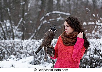 girl with a falcon