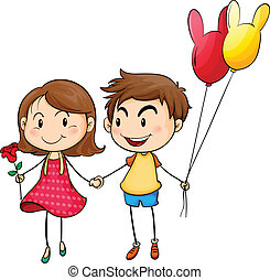 A girl with a flower and a boy with balloons