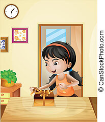A girl with a gift at the table