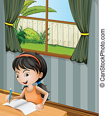 A girl with a headband writing - Illustration of a girl with...