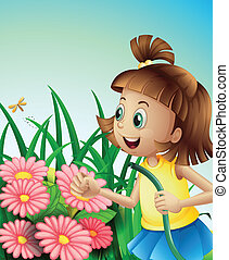 A girl with a hose at the garden