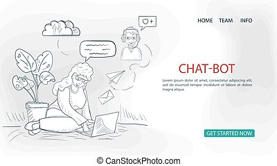 a girl with a laptop on the floor is chatting on the Internet For a Website Or Mobile Apps Artificial Intelligence Concept outline Vector Illustration in the style of Doodle sketch