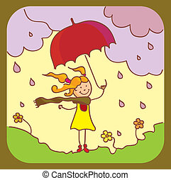 A girl with a red umbrella goes