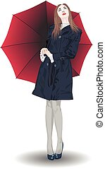 A girl with a red umbrella looks at the sky