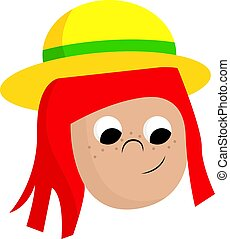 A girl with a yellow hat, vector or color illustration.