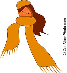 A girl with a yellow scarf, vector or color illustration.