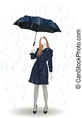 A girl with an umbrella is standing in the rain