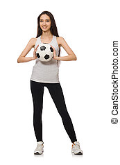 A girl with ball isolated on white