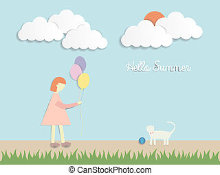 a girl with balloons and a cat paper art style with pastel sky background vector illustration
